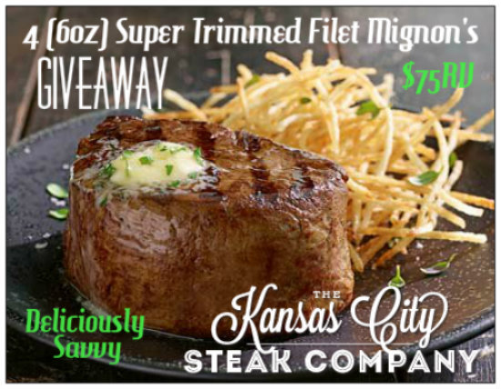 #kansascitysteaks 4 (6 oz.) Super Trimmed Filet Mignon's #Giveaway ($75 RV) {ends
