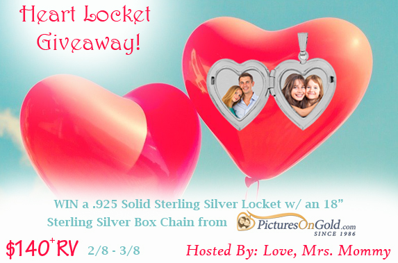 PicturesOnGold.com Heart Locket Giveaway{ends 3/8}