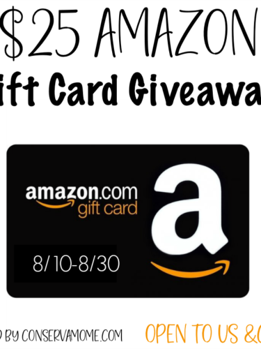$25 Amazon Gift Card Giveaway[ends 8/30}